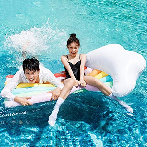 Selm Inflatable Floating Row Rainbow Water Floating Row PVC Lounge Chair Swim Ring Water Toy Beach Mat for Adult and Kids by Selm (Image #4)