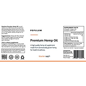 Populum, Premium Hemp Oil Supplement - Grown and Made in USA - 100% Natural & Tasty Orange Flavor, 30 Servings (1oz) - Pure Hemp Oil + Hemp Seed Oil + Grapeseed Oil