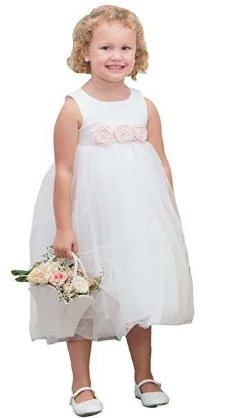 08934a052ad Bow Dream Flower Girl s Dress Cotton Off White with Blush Pink Flowers 1