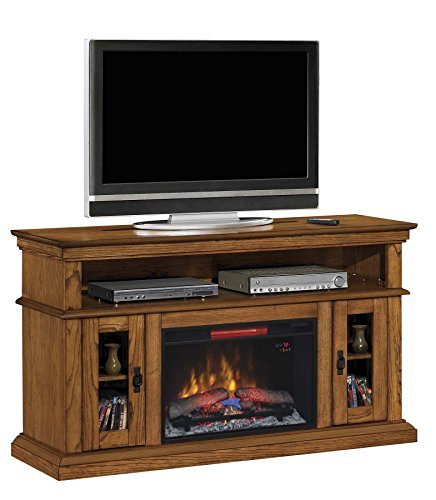 """ClassicFlame 26MM2209-O107 Brookfield TV Stand for TVs up to 65"""", Premium Oak (Electric Fireplace Insert sold separately)"""