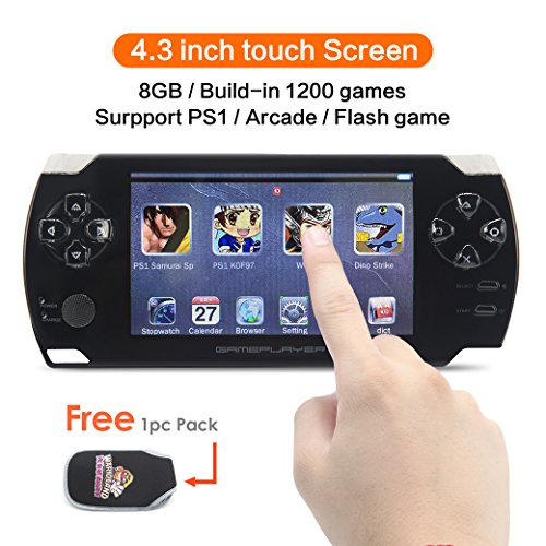 CZT 4.3 inch Touch Screen 8GB Handheld Game Console Video Game Console Build in 1200 no-Repeat Game for PS1/Arcad/flash/gba/fc/gbc/smd/sfc MP3/4 - Ps1 Portable Tv