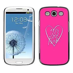 TopCaseStore / la caja del caucho duro de la cubierta de protección de la piel - Heart Clean Text Minimalist - Samsung Galaxy S3 I9300