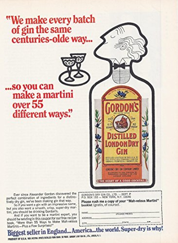1972 Alcohol Advertisement Gordon's distilled London dry gin (Gordons London Dry Gin)