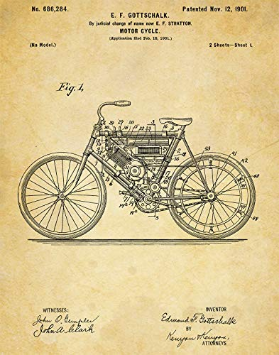 - Harley Davidson Motorcyle 1901 Patent Wall Art Prints - one (11x14) Unframed - wall art for motorcyclists