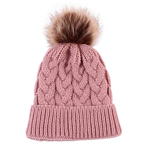 Price comparison product image Mom and Baby Knitting Cap Keep Warm Hat Matching Outfits (Pink -1)