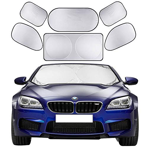Cosyzone Windshield Sunshade 6 Pieces Car Sun Shade Side Rear Window Shades UV Rays Sun Visor Protector, Keeps Vehicle Cooler (Best Sunshade For Car Windshield)