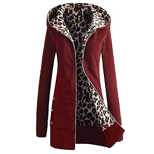 Vin Fermeture Pull Veste capuche Manteau Pardessus Sweat Femmes Chaud Cardigan Vtements Plus Plus Automne Outwear Chemisier Rouge velours Top Hiver Simple Sunenjoy Leopard 1wSqfxv
