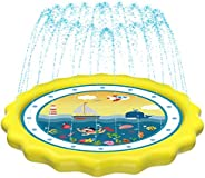 "HITOP Kids Sprinklers for Outside, Splash Pad for Toddlers & Baby Pool 3-in-1 60"" Water Toys Gifts fo"