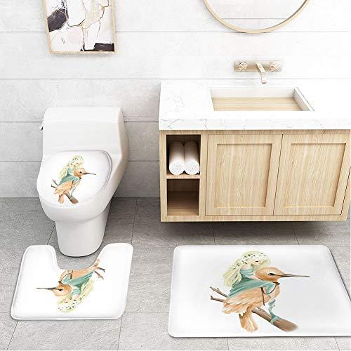 - Bathroom Rug Mats Toilet lid Toilet Bath Mat WC Lavatory Rugs Beautiful Hand Painted Oil Fairy,3 Piece Set