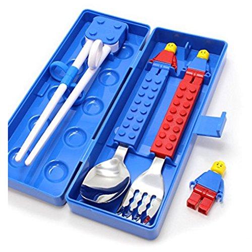 Brick Figure Design Oxford Training Chopsticks Spoon Fork Case Set for Right-hand Children Kids (BlueCaseSpoonForkChopsticks) by OxfordKorea (Image #2)