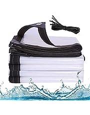 J&SKD Waterdicht transparant dekzeil met oogjes | 3 x 3 m dekzeil dekzeil dekzeil Top Line dekzeil & spanriemen tuinzeil, weerbestendig zeil voor tuinmeubelen, zwembad, plantendak