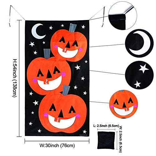 Alapaste Pumpkin Bean Bag Toss Games with 6 Bean Bags,Halloween Games Set Pumpkin Banner or Treat Banner for Family Friendly Kids Party Halloween Decorations(30 x 54 inches by Alapaste