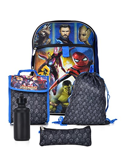 Marvel Boys' Avengers Infinity War 5 Pc Set Backpack, Blue, One Size