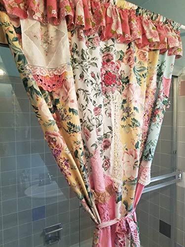 Secret Garden Shower Curtain Boho shabby chic Patchwork antique linen fabric floral Bohemian Door Curtain HippieWild Hippie - Curtains Shabby Patchwork
