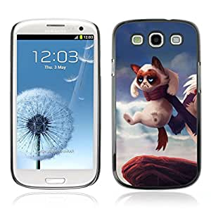 A-type Arte & diseño plástico duro Fundas Cover Cubre Hard Case Cover para Samsung Galaxy S3 III / i9300 i717 ( Grumpy Kitty Cat Rey León )