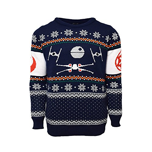 Official Star Wars X-Wing Vs Tie Fighter Christmas Jumpers for Men Or Women - Ugly Novelty Gifts Xmas Jumper - Unisex Knitted Sweater Design - Officially Licensed Disney Long Sleeve Sweater Top Blue