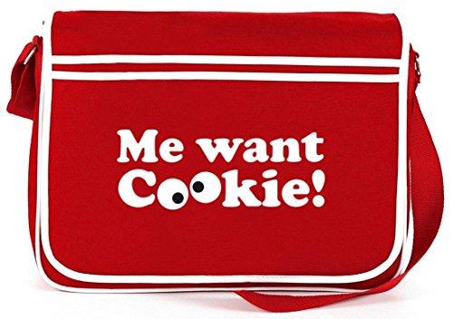 Shirtstreet24, Me Want Cookie! Retro Messenger Bag Kuriertasche Umhängetasche Rot
