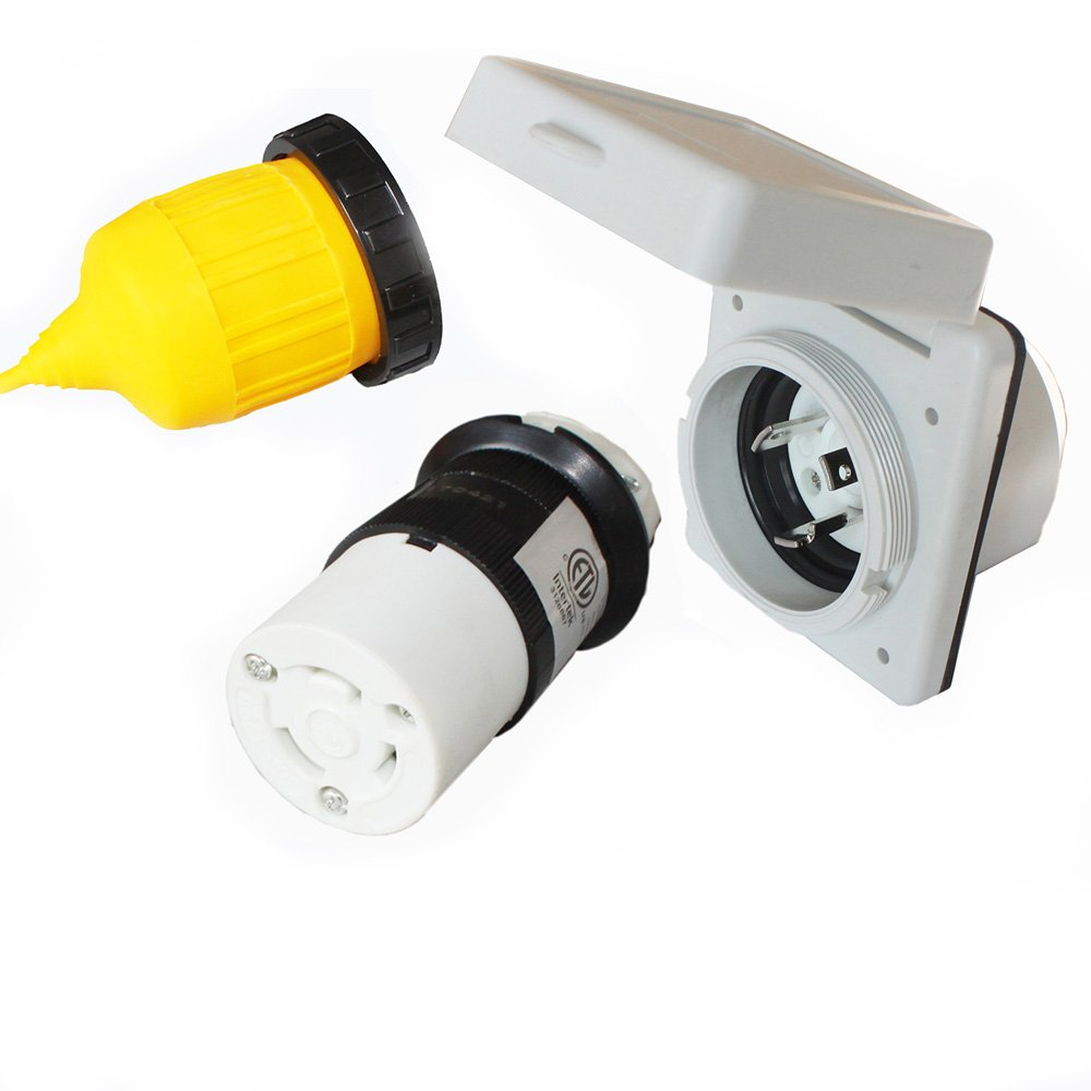 X-Haibei RV 30 amp Power Inlet Plug Female Twist Locking Connector 125V AC White Inlet w/Weatherpoof Cover Boot Kit by X-Haibei