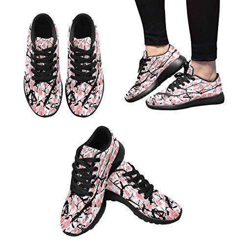 InterestPrint Design Tree Sakura Shoes Bloom Women's Running Athletic 7 Owx0q7O4r
