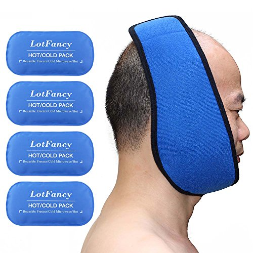 LotFancy Reusable Hot or Cold Gel-Pack with Stretch Wrap, Pain Relief for TMJ, Chin Jaw Oral and Facial Surgery, Dental Implants etc. from LotFancy
