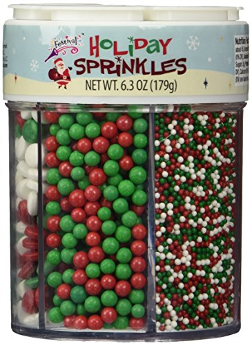 Festival Holiday Christmas Sprinkles 6 Cell Pack