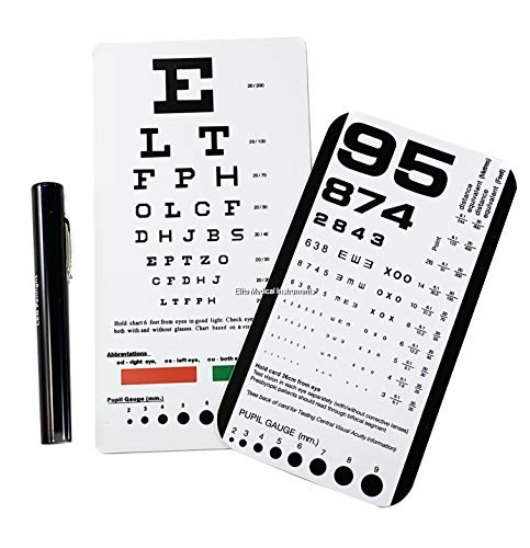 EMI Rosenbaum AND Snellen Pocket Eye Charts + LED Penlight - 3 Piece Set! ()