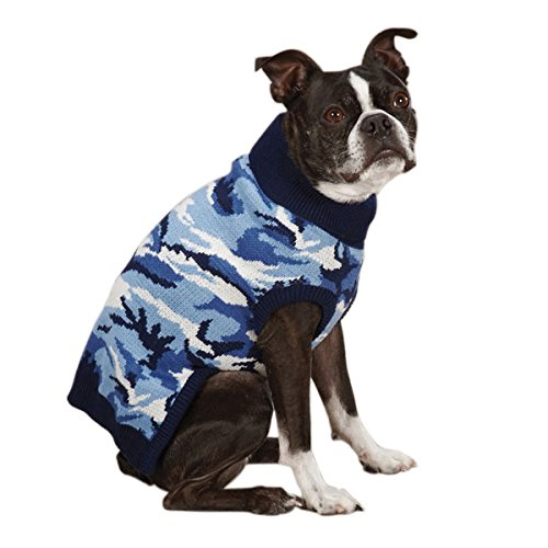 Casual Canine 12-Inch Acrylic Camo Dog Sweater, Small, Blue