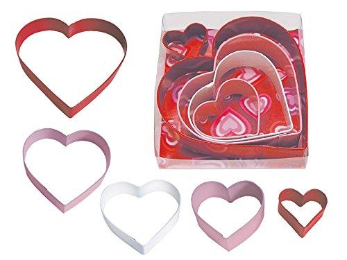 R&M International 1897 Heart Cookie Cutters, Assorted Sizes, 5-Piece Set (5 Cookie Cutter Heart)