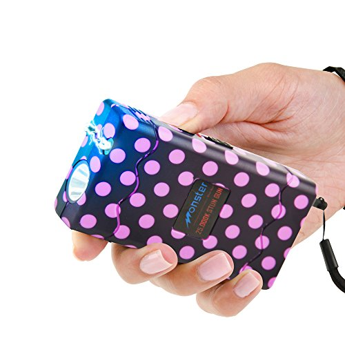 Monster Stun Gun with LED Flashlight & Disable Pin, 25 Million Volts, Rechargeable, Polka Dot Purple
