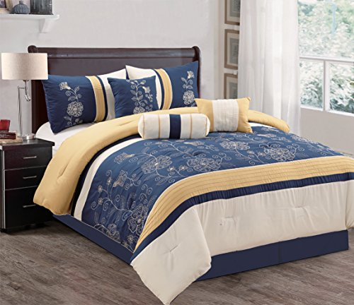 Grand Linen Modern 7 Piece QUEEN Bedding Navy Blue/Grey/Yellow Embellished Holiday Comforter Set with accent pillows (Holiday Bedding Sets)