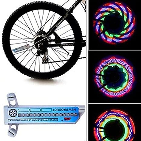 jiaqinsheng bicicleta rueda luz doble 16-LED Dazzle color Spoke luz lámpara LC-016: Amazon.es: Deportes y aire libre