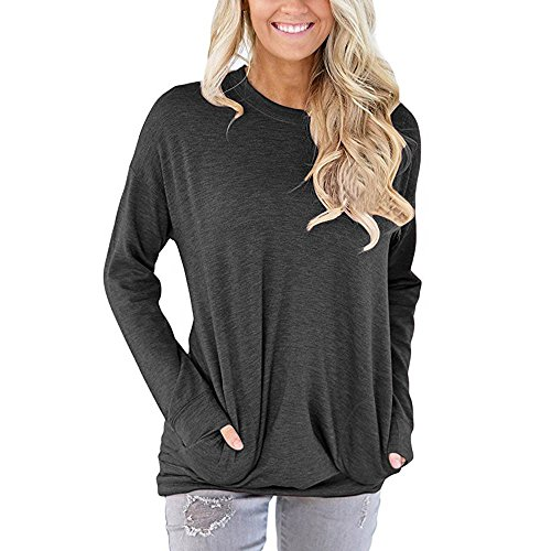 Aniywn Women Casual Round Neck Long Sleeve Tee Shirt Loose Pocket Cotton Sweat Blouse Tops Black (T-shirt Cap Life Sleeve Good Is)