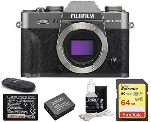 FUJIFILM X-T30 Mirrorless Digital Camera (Body with 64GB Bundle, Dark Silver)