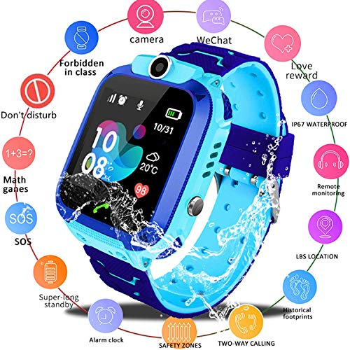 Zqtech Kids Smartwatch - GPS Tracker Smartwatches Wrist Digital Watch Phone SOS Alarm Clock Camera Phone Watch for Children Age 3-12 Boys Girls with iOS Android (Best Child Gps Tracking Device In India)