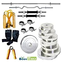 BODY MAXX Unisex 10kg Steel Weight Plate Gym Set with 14-inch Dumbbell Rod, 3ft Curl-Rod, 5ft Plain-Rod, Skipping Rope and Accessories (GA-177)