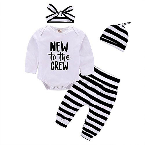 Baby Girl Boy Clothes Outfits New to The Crew Print Long Sleeve Romper + Striped Pants+Hat+ Headband 4pcs (Home Outfit)