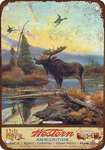 Western Ammunition and Moose Vintage Look Reproduction Metal Tin Sign 12X18 Inches Western Tin