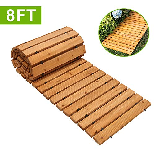 Reliancer 8' Wooden Garden Pathway Weather-resistant Straight Walkway Roll Out Cedar Outdoor Patio Path Rustic Decorative Garden Boardwalk Walkways Roll Up Beach Wood Road Floor Wedding Party Pathways (Paver Patio Small)