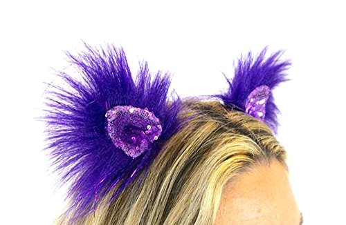 Handmade Faux Fur - Kritter Klips Handmade Faux Fur Realistic Clip-On Animal Ears- Purple Parade Sequined Ears
