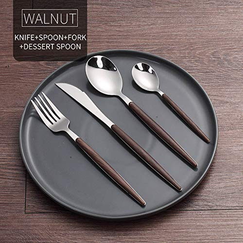 Gold Cutlery Set Western 304 Stainless Steel Dinnerware With Wooden Handle Travel Dinner Tableware Set Walnut 4 Pcs B (Table Walnut Set Game)