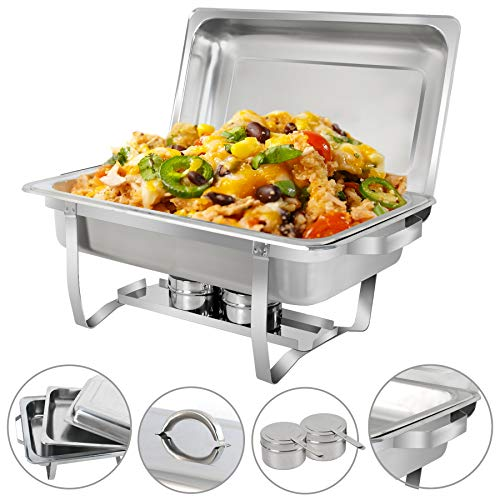 SUPER DEAL 8 Qt Stainless Steel 4 Pack Full Size Chafer Dish w/Water Pan, Food Pan, Fuel Holder and Lid For Buffet/Weddings/Parties/Banquets/Catering events (4) by SUPER DEAL (Image #8)