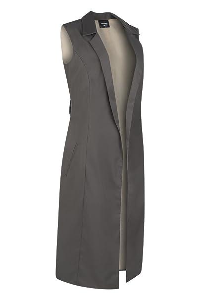 Chaqueta sin mangas modesta de diseño para mujer Abrigo largo sin mangas con solapa curvada Cinturón