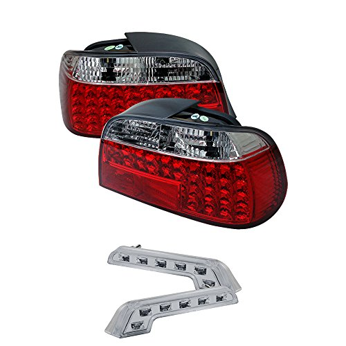 Carpart4u BMW E38 7-Series LED Transparent Red Tail Lights & LED Day Time Running Light Package
