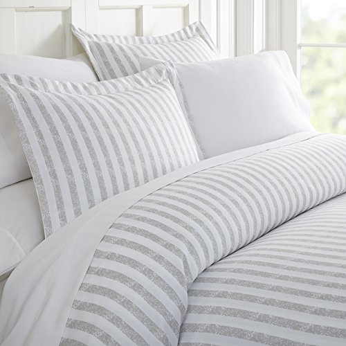 Simply Soft Ultra Soft Rugged Stripes Patterned 3 Piece Duvet Cover Set, Queen, Light Gray (Duvet Patterned Cover)
