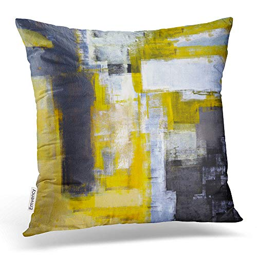- Emvency Throw Pillow Covers Busy Grey And Yellow Abstract Art Decor Pillowcases Polyester 20 X 20 Inch Square Hidden Zipper Home Cushion Decorative Pillowcase