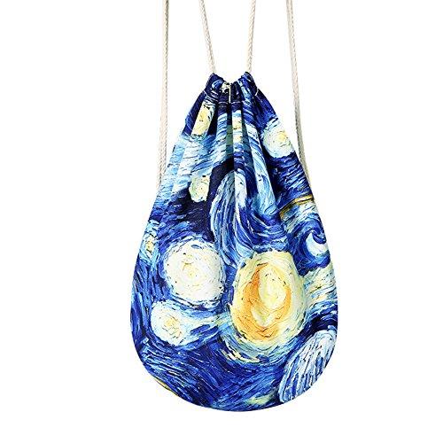 Mery Wa Unisex Stars Patterns Print Drawstring Backpack Daypacks 17x14 (Luggage Porter Case Pc)