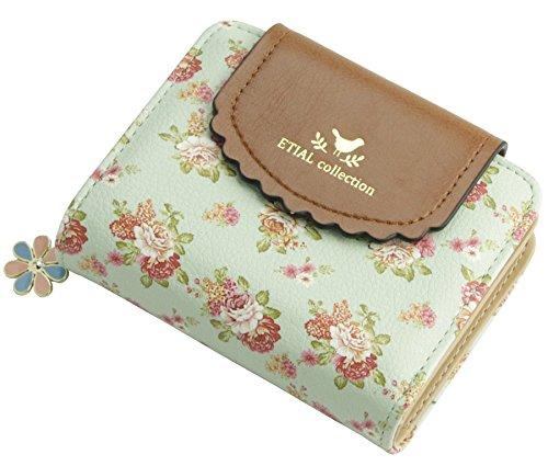 ETIAL Womens Vintage Floral Zip Mini Wallet Short Design Coin Purse Green