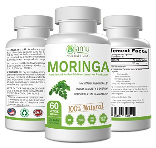 Moringa Powder Capsules Not From Concentrate - Jamu Natural Living Organic Moringa Supports Healthy Immune Systems and Boosts Energy - 100% Raw Organic Moringa Leaf
