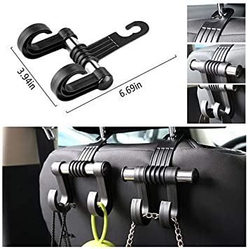 KOOABY Car Back Front Seat Headrest Hanger Holder Hooks for Purse Grocery Bag Cloth Coat Heavy Duty Purse Hooks Fit Universal Vehicle Trunk SUV Storage Organizer 2