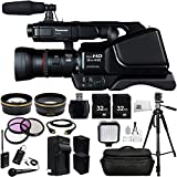 Panasonic HC-MDH2 AVCHD HCMDH2 Shoulder Mount Camcorder (PAL) + Audio-Technica ATR288W VHF TwinMic System, .43x Wide Angle Lens, 2.2x Telephoto Lens, 3 Piece Multi-Coated Filter Kit, 2x 32GB SD Memory Cards, LED Video Light, HDMI Cable, 2 Replacement CGA-D54 Batteries, Waterproof Carrying Case, 72 inch PRO Tripod + MORE
